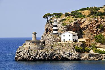 Sa Creu Lighthouse, Port de Soller, Mallorca, Balearic Islands, Spain, Europe