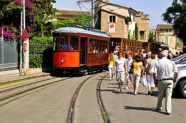 Historic tram from 1912 in the historic centre of Soller, Majorca, Balearic Islands, Spain, Europe
