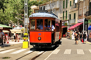 Historic tram from 1912 in Port de Soller, Majorca, Balearic Islands, Spain, Europe