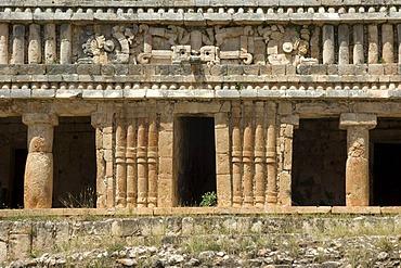 Sayil, Gran Palacio Norte, The great Palace, Puuc style columns, Yucatan, Mexico