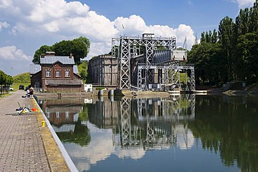 Canal du Centre, Boat Lift number 4, Unesco World Heritage Site, Thieu, Hainaut Province, Belgium