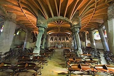 Unfinished church of Colonia Gueell, crypt interior, Unesco World Heritage Site, Antonio Gaudi architect, Santa Coloma de Cervello, Barcelona, Catalonia, Spain