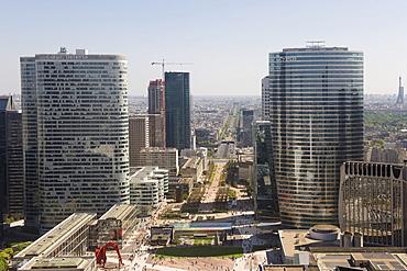 Perspective view over Paris and La Defense business district, Paris, France, Europe