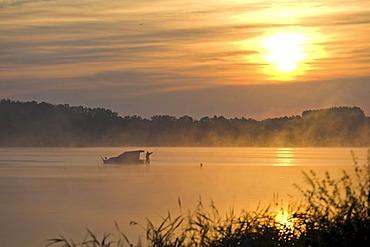 Sunrise at Knappensee lake in Hoyerswerda, Bautzen district, Saxony, Germany, Europe