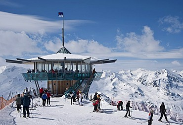 Restaurant with panoramic view Top Mountain Star on Wurmkogel mountain with view on Nederkogel mountain, Hochgurgl, Oetztal Valley, Tyrol, Austria