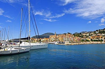 Inlet of the old port of Menton, Cote d'Azur, France