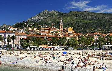 At the beach in Menton, view of the locality and the back-country mountains, Cote d'Azur, France