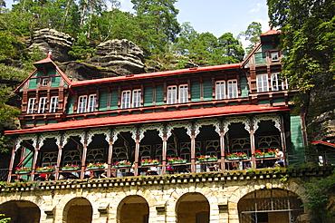 Holiday chateau Falcon's Nest at Pravcicka Brana, Bohemian Switzerland, Czech Republic, Europe
