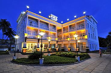 Resort hotel complex with lighting, dark evening sky, Phu Quoc, Vietnam, Asia