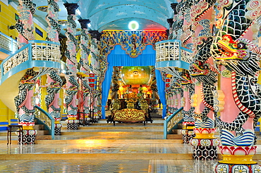 Atrium and altar with the sanctuary in the Cao Dai Temple, Tay Ninh, Vietnam, Asia