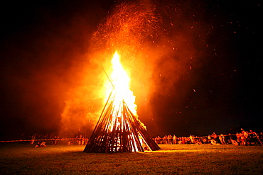 Bonfire for the celebration of midsummer night in Peretshofen, community Dietramszell, district of Bad Toelz Wolfratshausen Bavaria, Germany, Europe