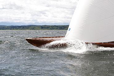 Traditional class regatta, only for wooden boats built before 1940, Lake Starnberg, Upper Bavaria, Bavaria, Germany, Europe
