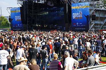 Audience at the Open Air Festival, Muehldorf am Inn, Bavaria, Germany