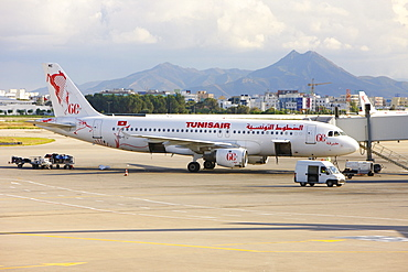 Plane at the airport, Tunis, Tunisia, Northern Africa