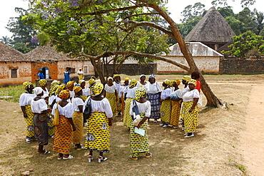 Women's church group, homestead of the chieftain, Fon, Bafut, West Cameroon, Cameroon, Africa