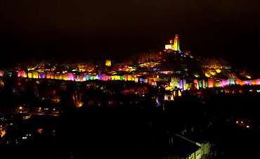 Spectacle of lights on the castle and town wall of Veliko Turnovo, Bulgaria, Eastern Europe