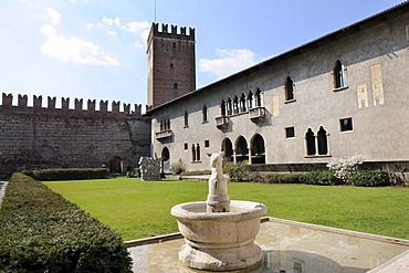Inner courtyard of Castelvecchio, Verona, Italy, Europe