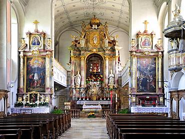Inner view of St. Martin Church, former abbey church of the Augustinians Canons Regular of Bernried on Starnberg Lake, Upper Bavaria, Bavaria, Germany, Europe