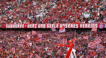 FC Bayern Muenchen fans, south bank of the Allianz Arena, Munich, Bavaria, Germany, Europe