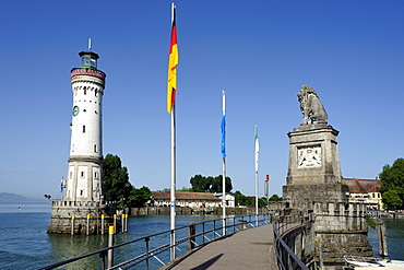 Entrance to the seaport of Lindau, on Lake Constance, Bavaria, Germany, Europe