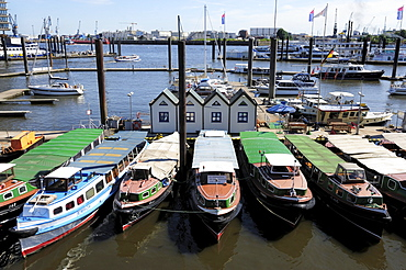 Boats in the seaport of Hamburg, Germany, Europe