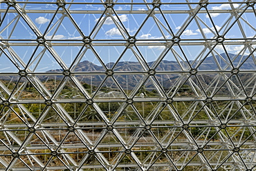 Biosphere 2, Science and Research Center, detail of the glass facade, Tucson, Arizona, USA