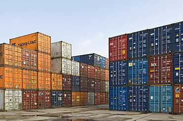 Bonn Container Terminal, overlooking stacked oversea containers in the depot, Bonn harbour, North Rhine-Westphalia, Germany, Europe