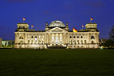 Reichstag Building with new lighting in Berlin, Germany, Europe