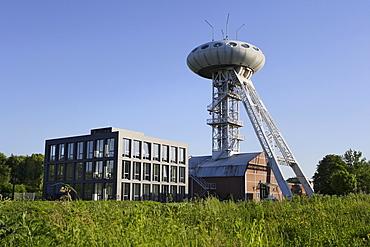 Luentec Tower, Colani-egg on a shaft tower in the Technologiezentrum technology center Luenen-Brambauer, North Rhine-Westphalia, Germany, Europe