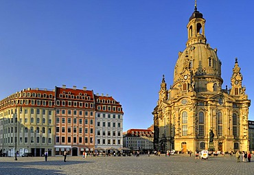 Frauenkirche Church of Our Lady at the Neumarkt square, Dresden, Saxony, Germany, Europe