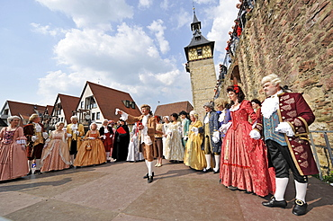 Life in the Baroque period of the 18th Century, court society in Venetian clothes in the courtyard with gate tower, Schiller Jahrhundertfest century festival, Marbach am Neckar, Baden-Wuerttemberg, Germany, Europe