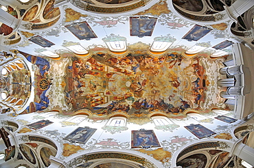Monumental ceiling painting by Johannes Zick, Gothic, Baroque style, city parish church, Simultaneum, St. Martin, Biberach an der Riss, Baden-Wuerttemberg, Germany, Europe