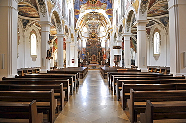 Gothic, Baroque style, city parish church, Simultaneum, St. Martin, Biberach an der Riss, Baden-Wuerttemberg, Germany, Europe