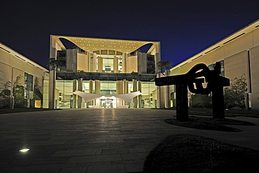 Kanzleramt, German Chancellery, at night, Berlin, Germany, Europe