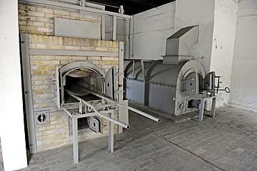 Incinerators in the crematorium of the women's concentration camp Ravensbrueck, Brandenburg, Germany, Europe