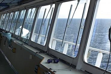 Container ship, bridge