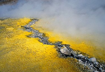 Sulphuric vapours from a crack in the earth, Vulcano, Aeolian Islands, Italy, Europe