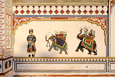Mural with decorated elephants, Rajasthan, North India, South Asia