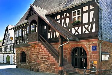 Bay window on the timbered city hall, Doerrenbach, Naturpark Pfaelzerwald nature reserve, Palatinate, Rhineland-Palatinate, Germany, Europe