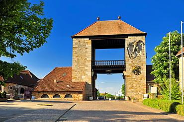 Deutsches Weintor wine gate, Schweigen-Rechtenbach, Naturpark Pfaelzerwald nature reserve, Palatinate, Rhineland-Palatinate, Germany, Europe