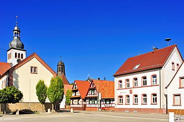 Town hall square with protestant parish church and catholic church of St. Remigius, Neuburg am Rhein, Palatinate, Rhineland-Palatinate, Germany, Europe