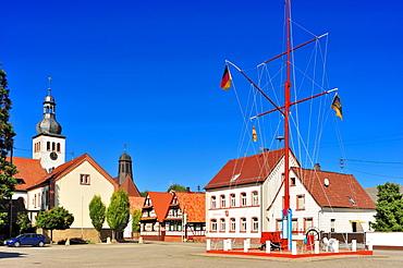Town hall square with Schiffermast ship's mast, protestant parish church and catholic church of St. Remigius, Neuburg am Rhein, Palatinate, Rhineland-Palatinate, Germany, Europe