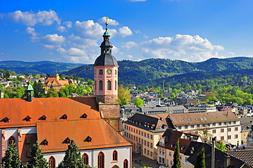 Panoramic view of the city with collegiate church, Baden-Baden, Black Forest, Baden-Wuerttemberg, Germany, Europe