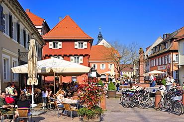 Street cafa at the Schlossplatz square, Ettlingen, Germany, Black Forest, Baden-Wuerttemberg, Germany, Europe