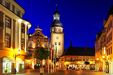 Market square with town hall and town hall tower, Ettlingen, Germany, Black Forest, Baden-Wuerttemberg, Germany, Europe