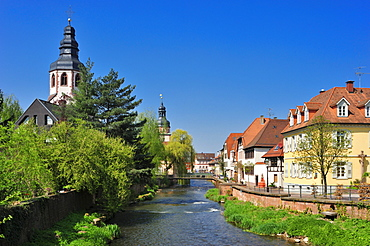 Historic centre with river Alb, town hall tower and the tower of the Sankt Martinskirche St. Martin's Church, Ettlingen, Black Forest, Baden-Wuerttemberg, Germany, Europe