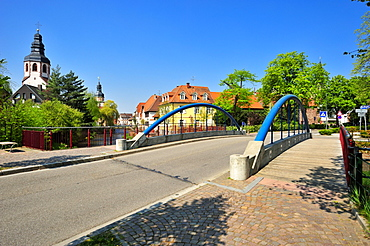 Friedrichsbruecke bridge with town hall tower and the tower of the Sankt Martinskirche St. Martin's Church, Ettlingen, Black Forest, Baden-Wuerttemberg, Germany, Europe
