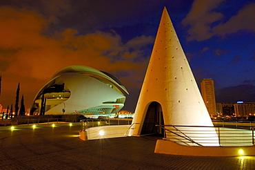 Palace of Arts Reina Sofia at dusk, by S. Calatrava, City of Arts and Sciences, Comunidad Valenciana, Valencia, Spain, Europe