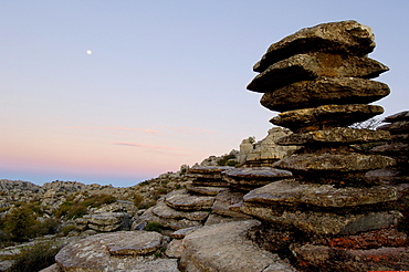 Erosion working on Jurassic limestones, Torcal de Antequera, province of Malaga, Andalusia, Spain, Europe