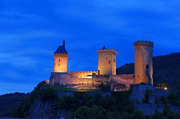 Castle of Foix, Chateau de Foix, at dusk, Cathar country, Ariege, Midi Pyrenees, France, Europe